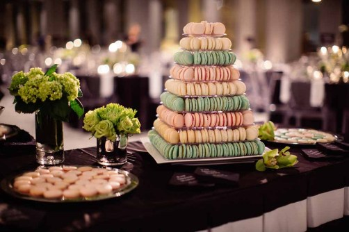 Black and White Wedding, Green Floral, Macaron, Contemporary, Dessert Buffet