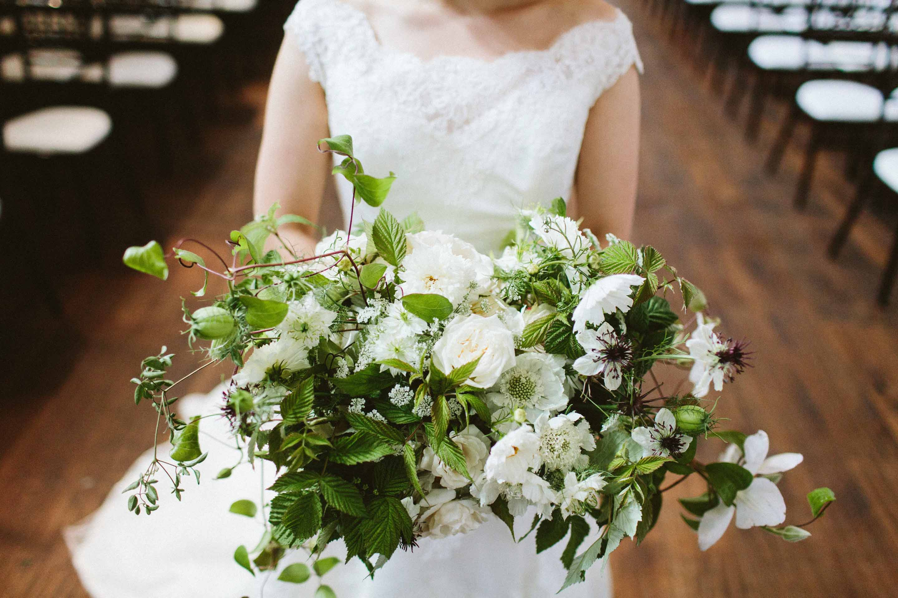 green and white wedding bridal bouquet