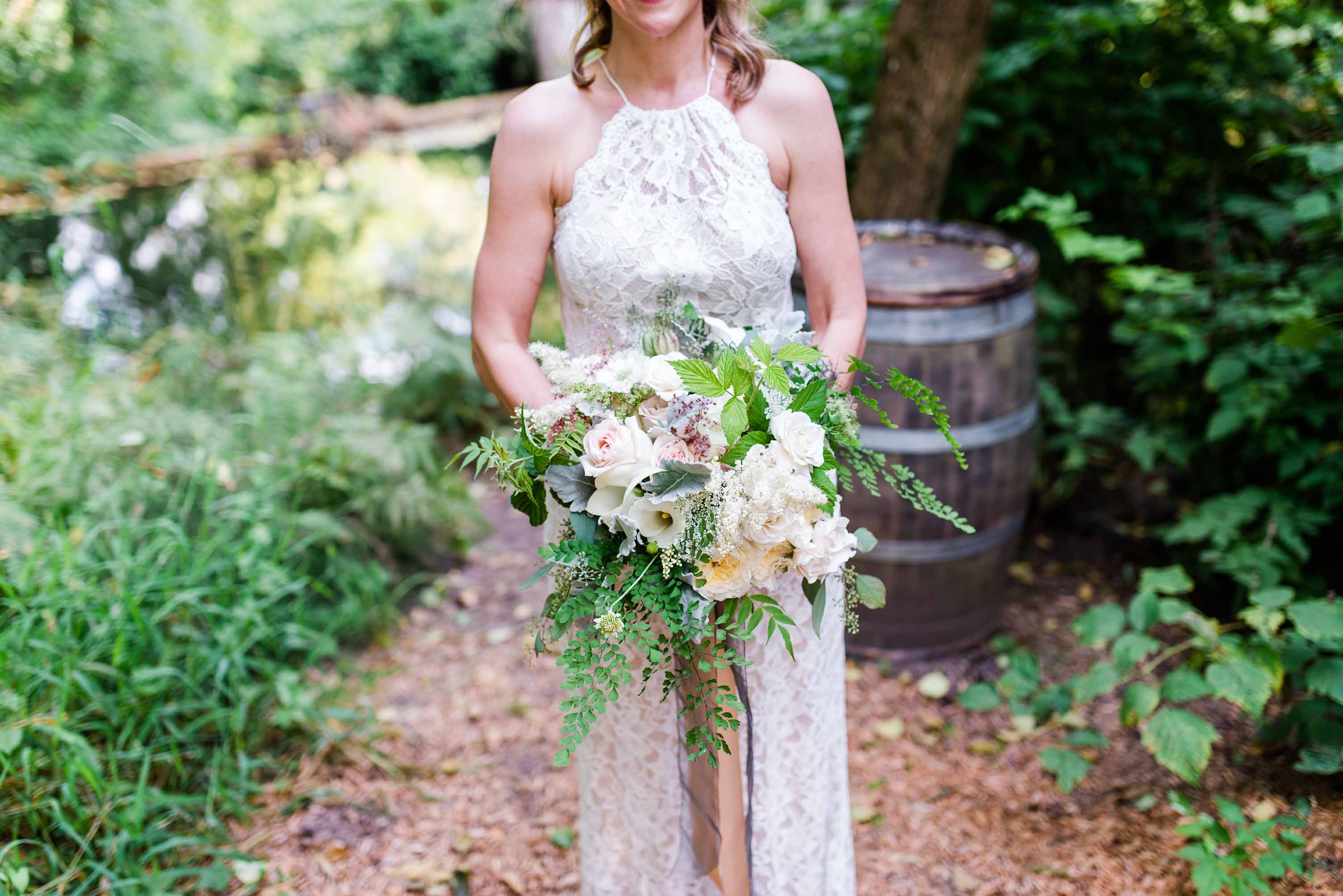 NW garden bouquet of ivory roses and maidenhair fern with long trailing ribbons