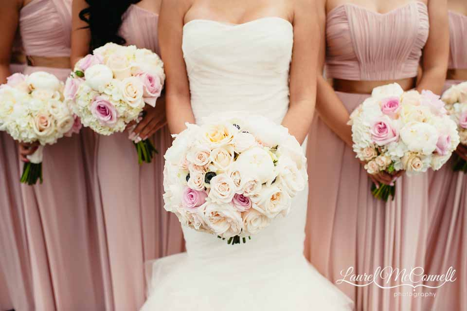 Rounded, tight bridal bouquet of blush colored garden roses, roses, spray roses - Bridal Bouquet Pricing by Flora Nova Design Seattle