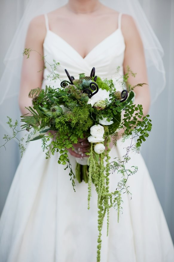 Trailing Northwest style bouquet of ivory roses and ranunculus with ferns, amaranthus, fern curl, and green dianthus - designed by Flora Nova Design Seattle