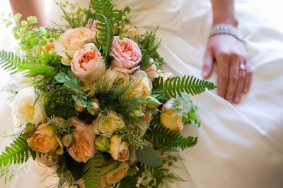 Northwest style bouquet of peach and pale yellow garden roses and maidenhair ferns