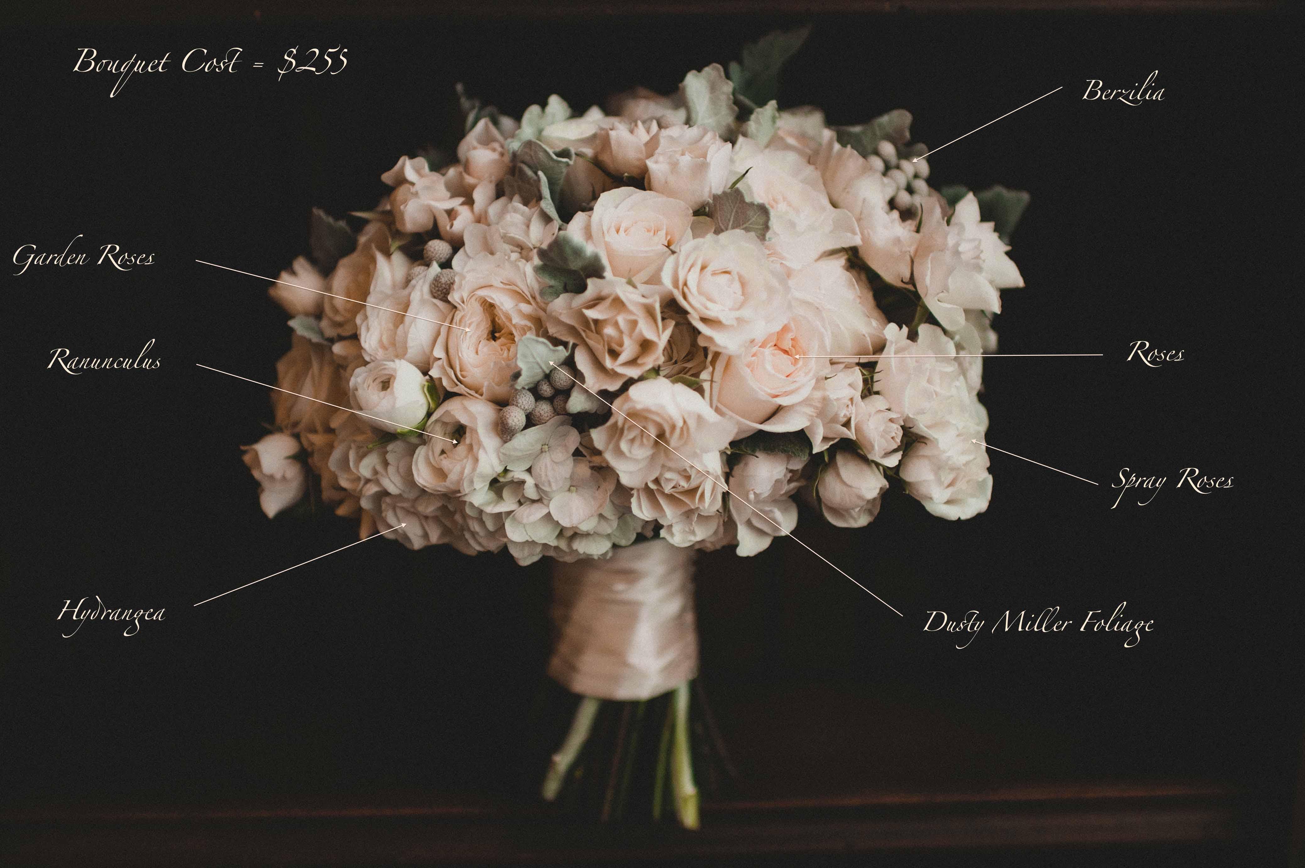 White and grey winter bridal bouquet recipe of white roses, spray roses, berzillia, ranunculus, Dusty Miller - Bridal Bouquet Flowers by Flora Nova Design
