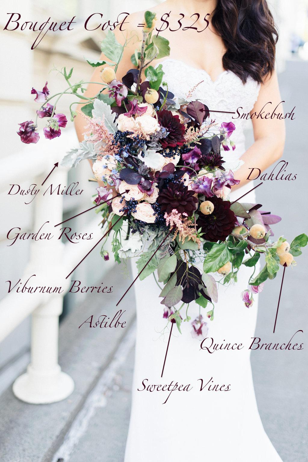 Burgundy dahlias, quince branches, clematis vines, roses - Bridal Bouquet Pricing: Fall dramatic plum bouquet recipe - Flora Nova Design Seattle