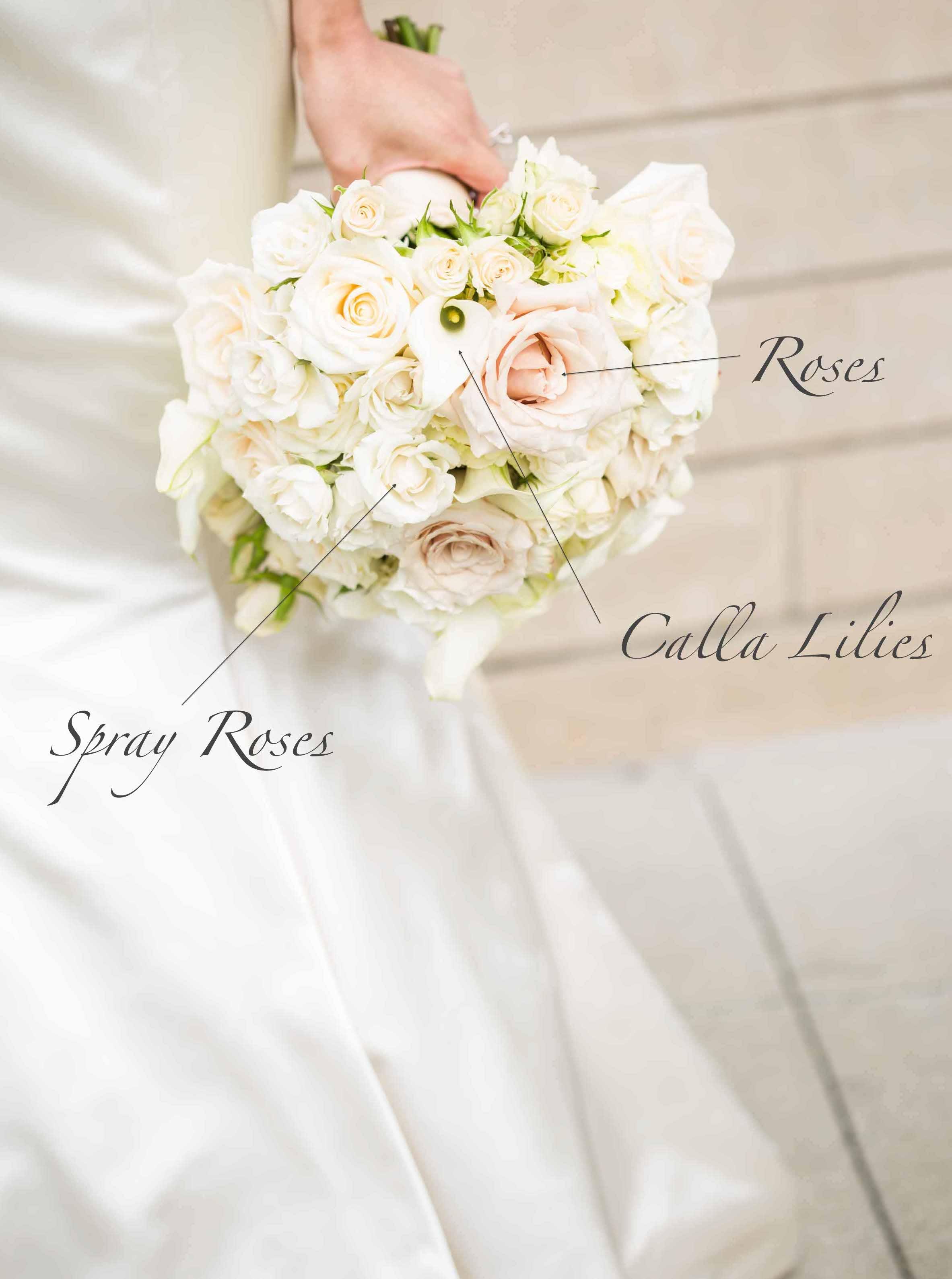 White bridal bouquet recipe - Flora Nova Design Seattle