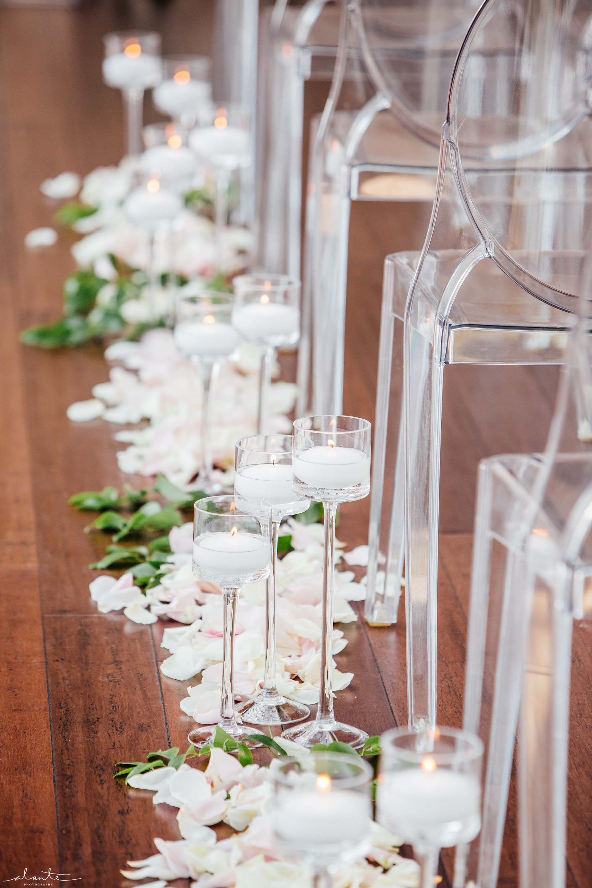 Wedding aisle with candles and rose petals - Olympic Rooftop Pavilion wedding with pink peonies by Flora Nova Design Seattle