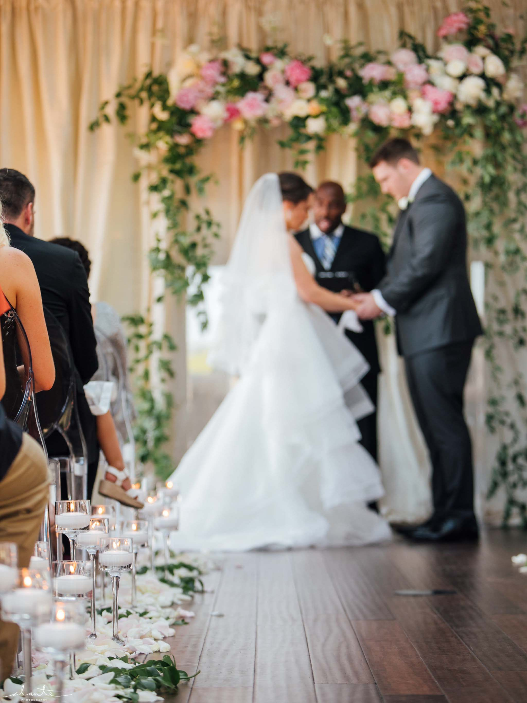 Bride and groom - Olympic Rooftop Pavilion wedding with pink peonies by Flora Nova Design Seattle