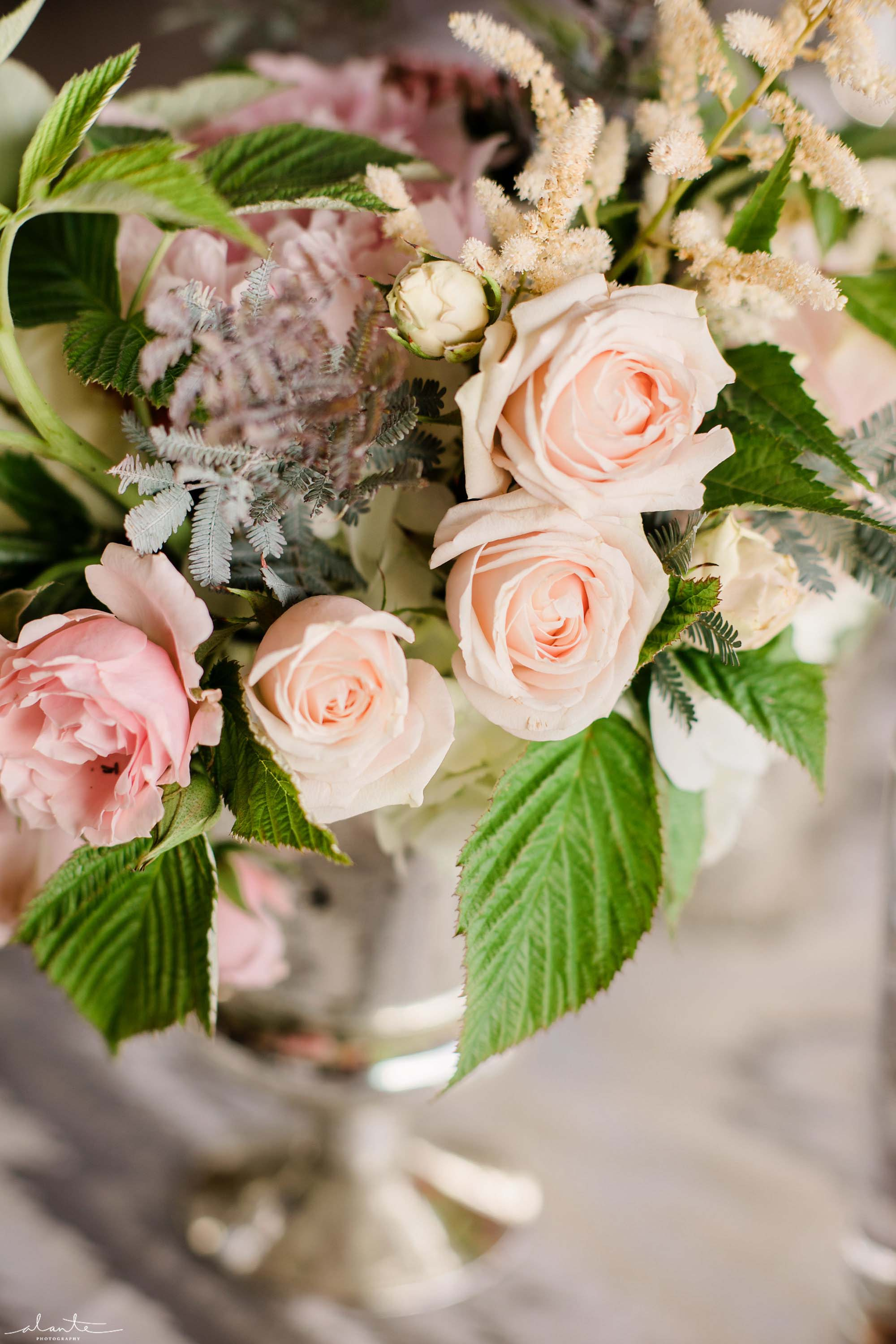 Centerpiece of pink roses, Olympic Rooftop Pavilion wedding with pink peonies by Flora Nova Design Seattle