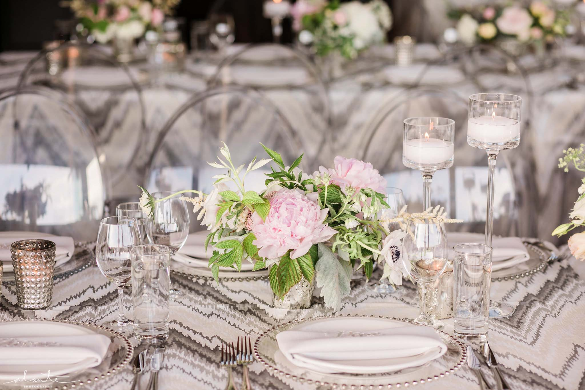 Long reception tables with silver linens and pink centerpieces - Olympic Rooftop Pavilion wedding with pink peonies by Flora Nova Design Seattle