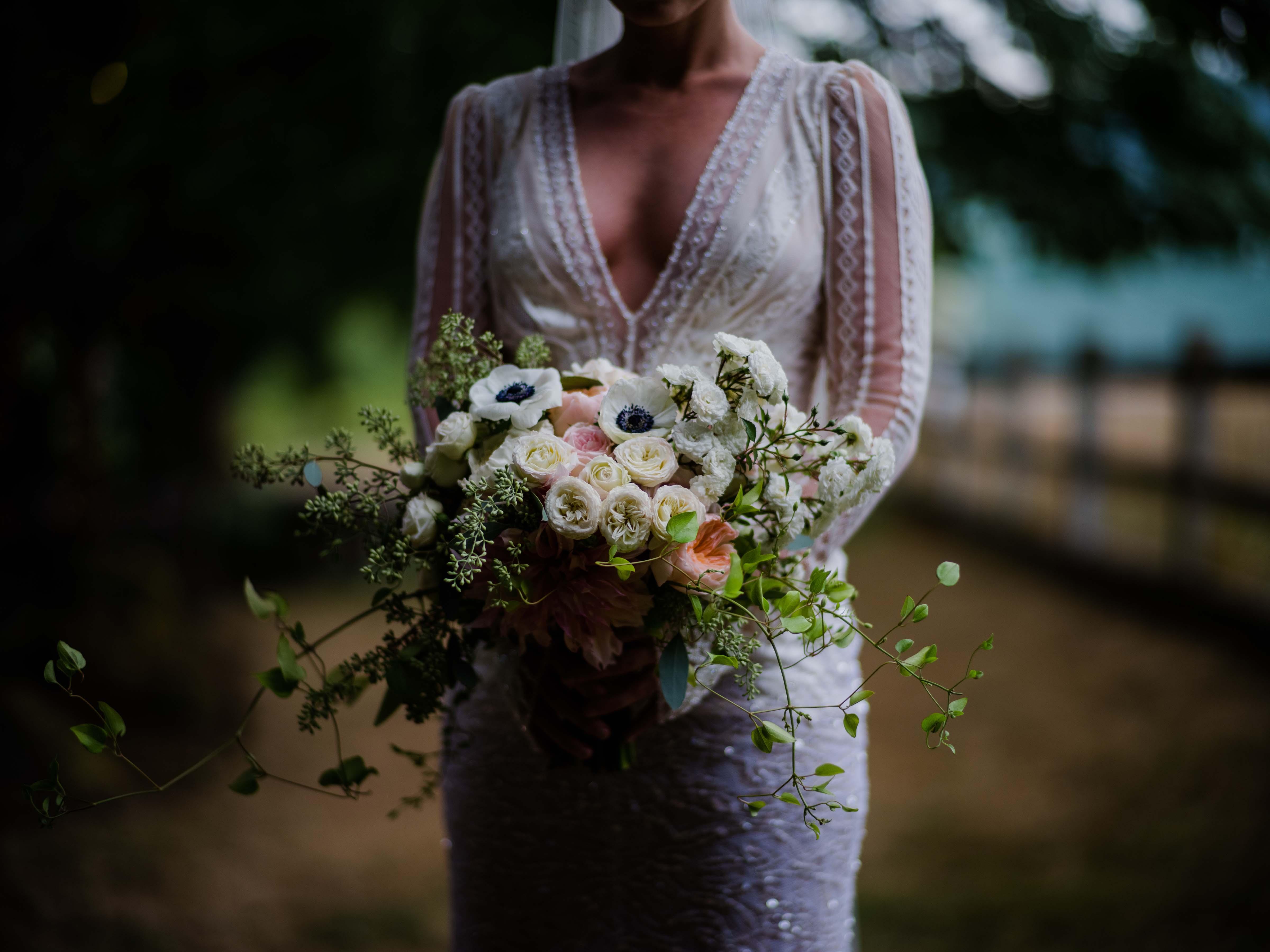 Garden bouquet of roses and anemones, designed by Flora Nova Design