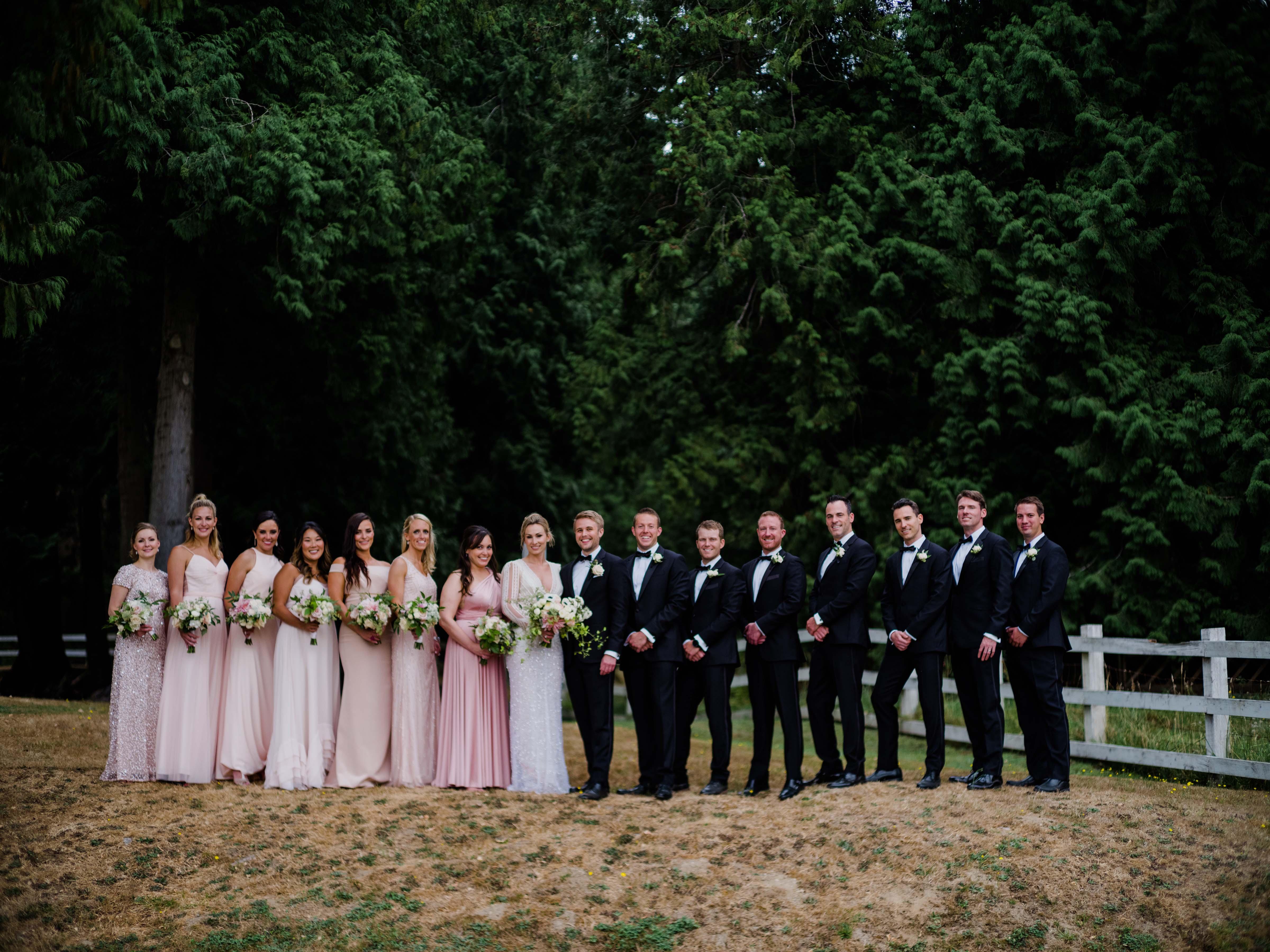 Bridal party at Chateau Lill