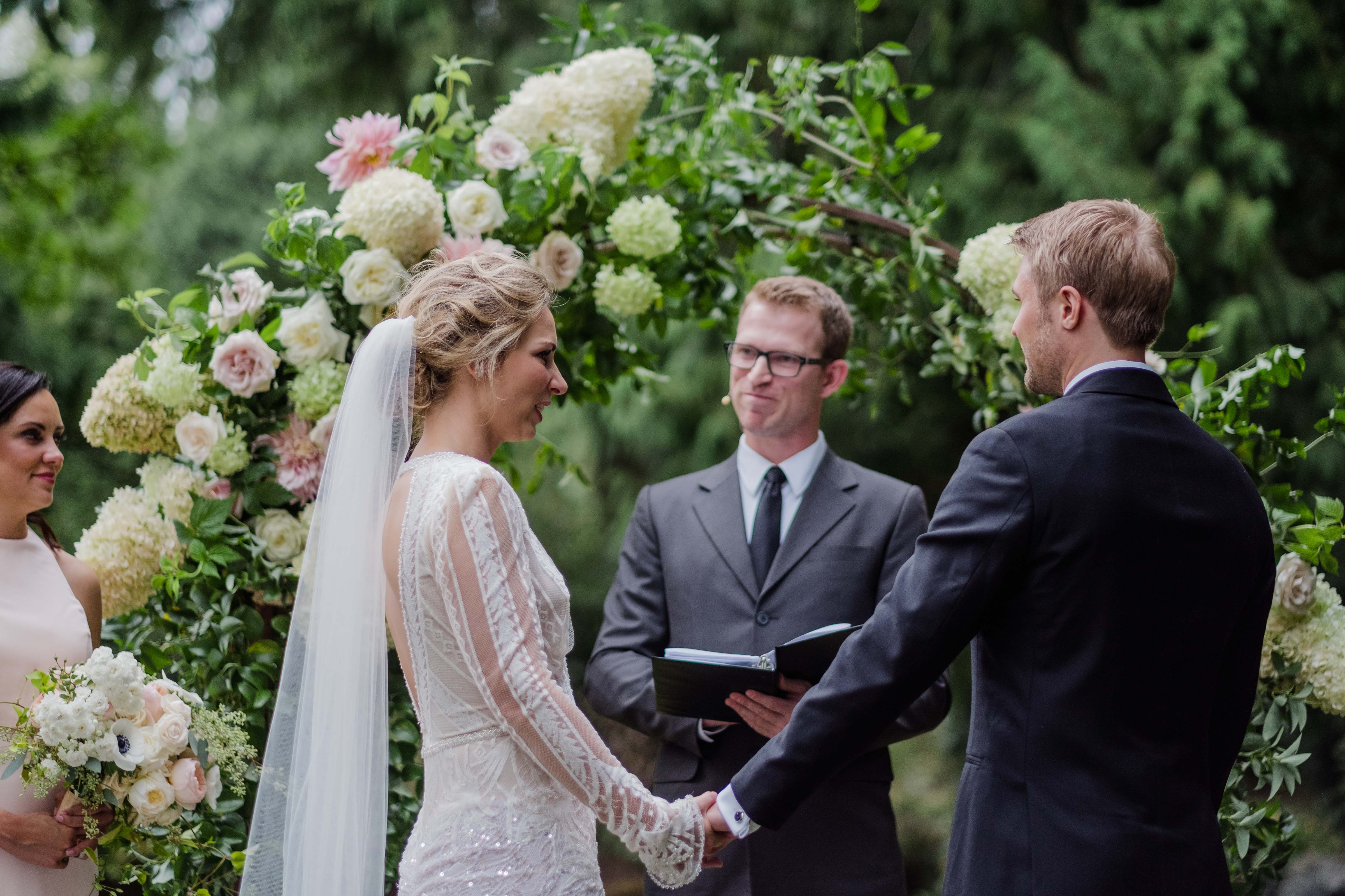 A wedding ceremony at Chateau Lill, designed by Flora Nova Design Seattle