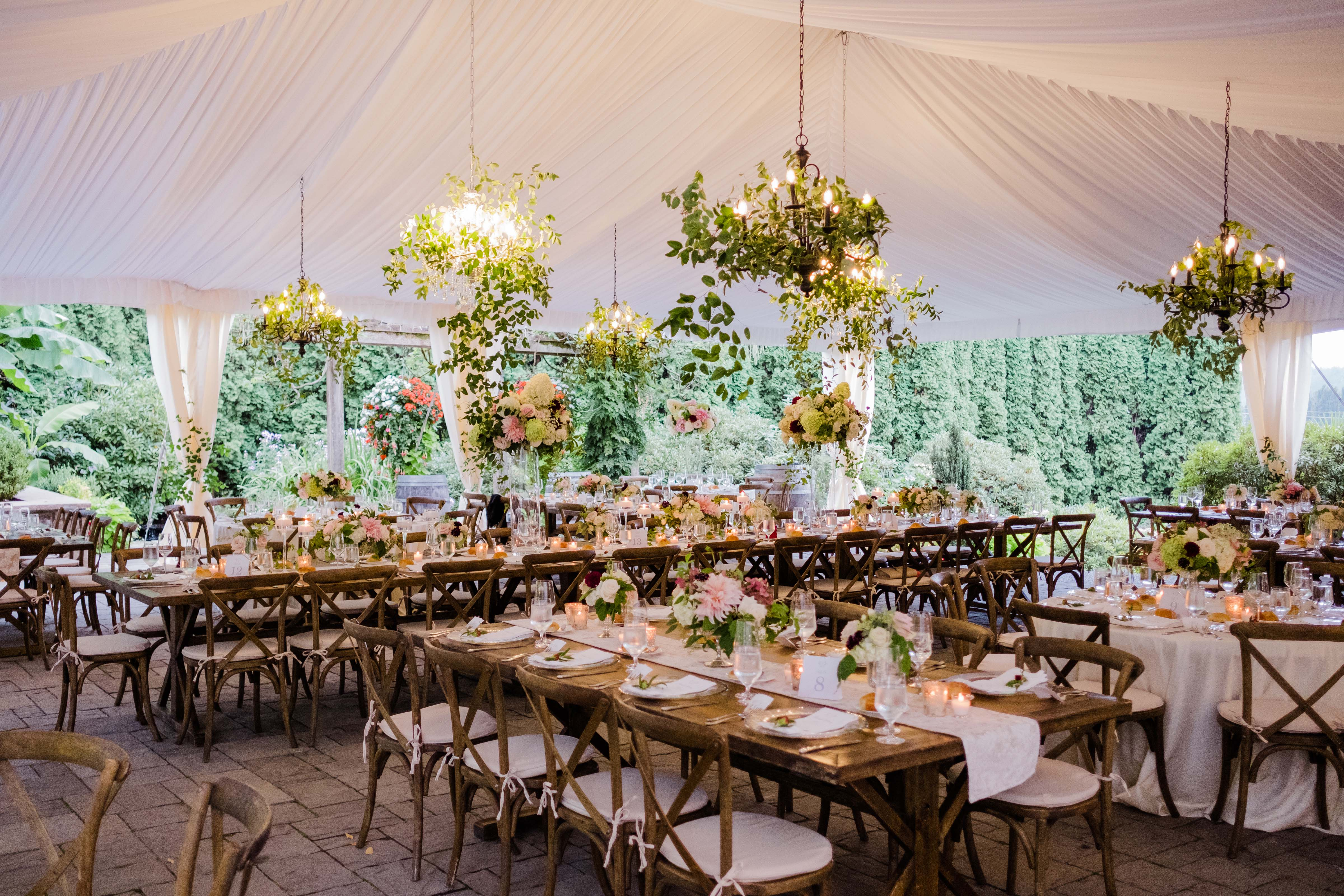 greenery chandeliers at wedding reception