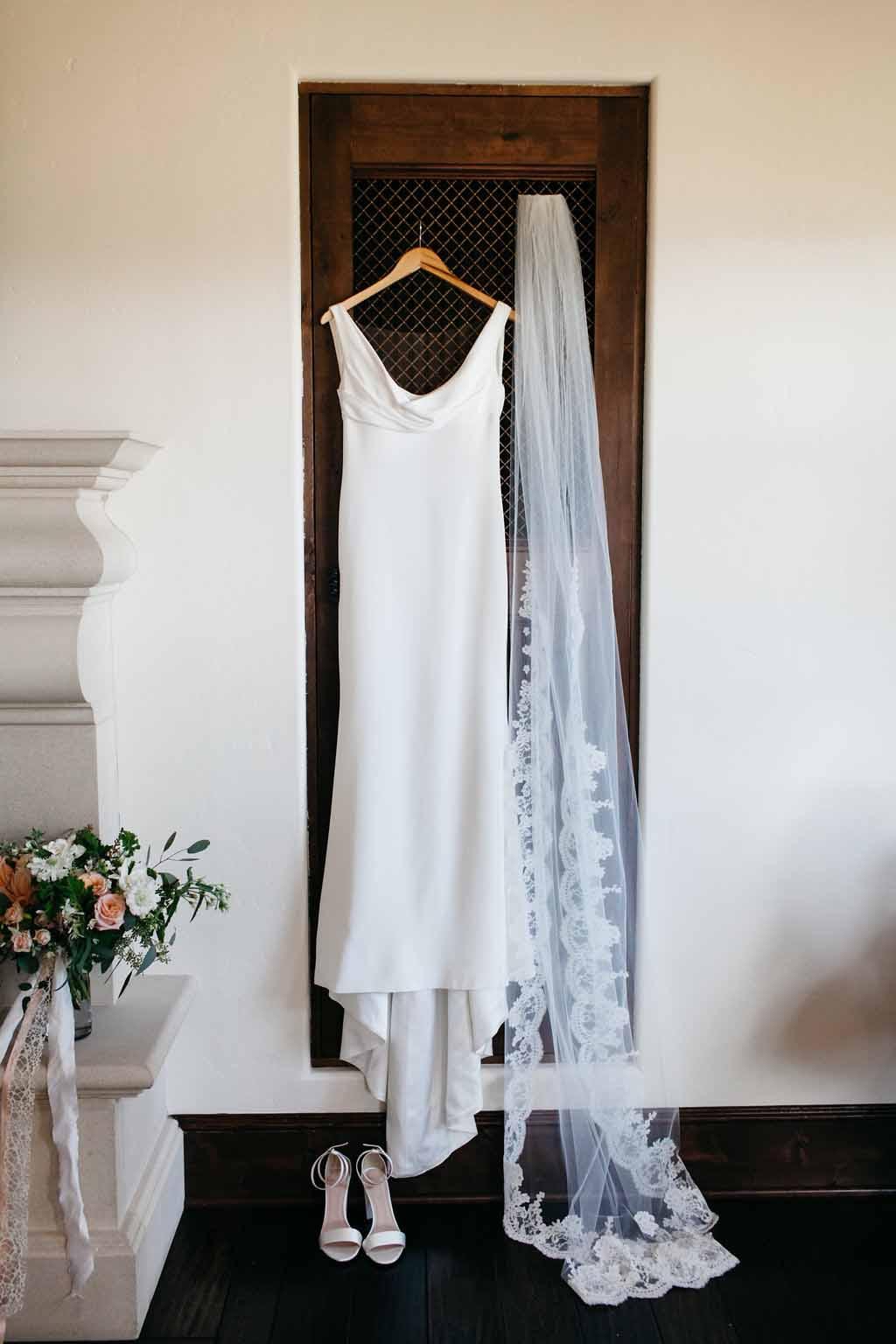 Elegant bridal gown and bridal bouquet - Flora Nova Design Seattle