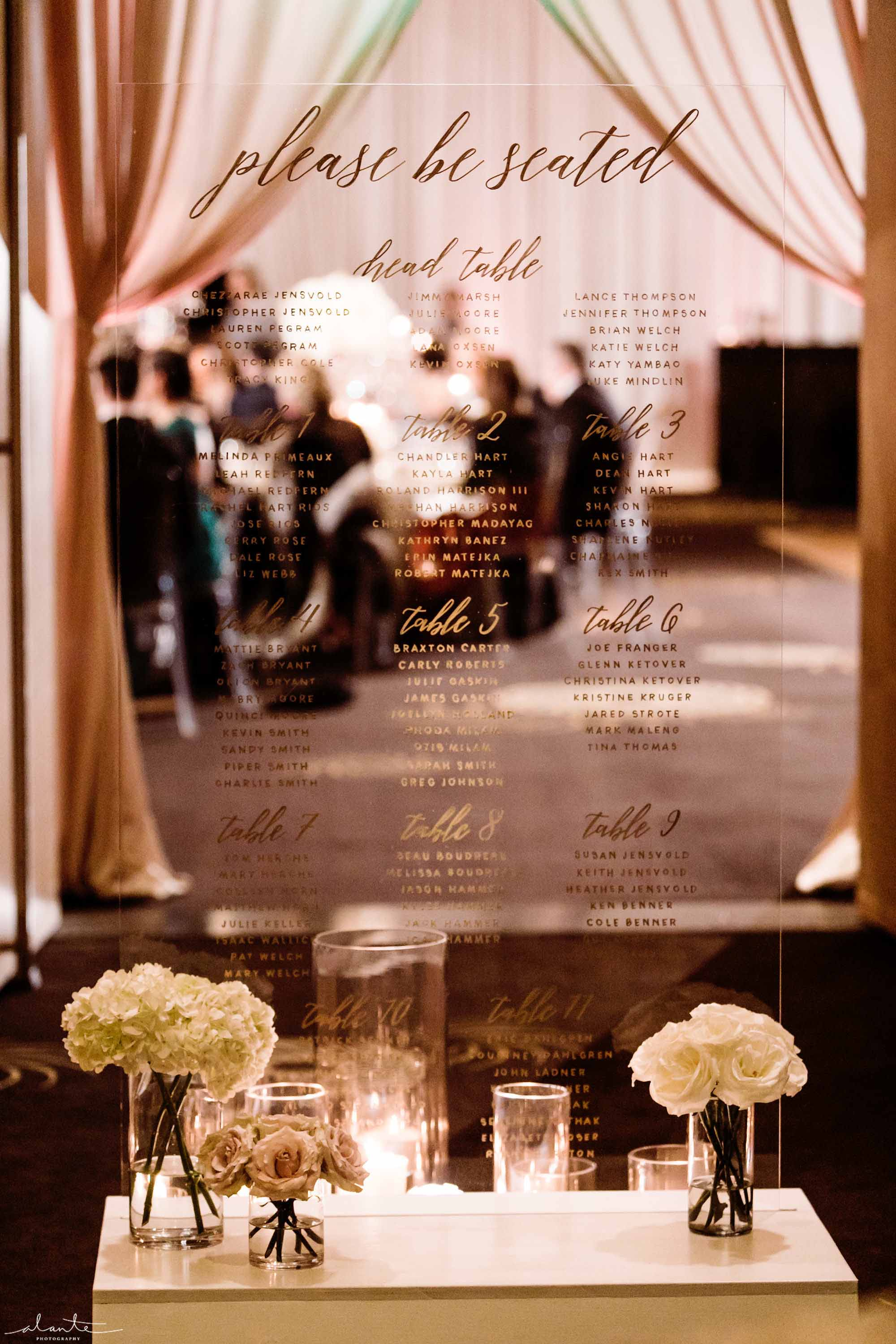 lucite seating chart at Four Seasons Seattle