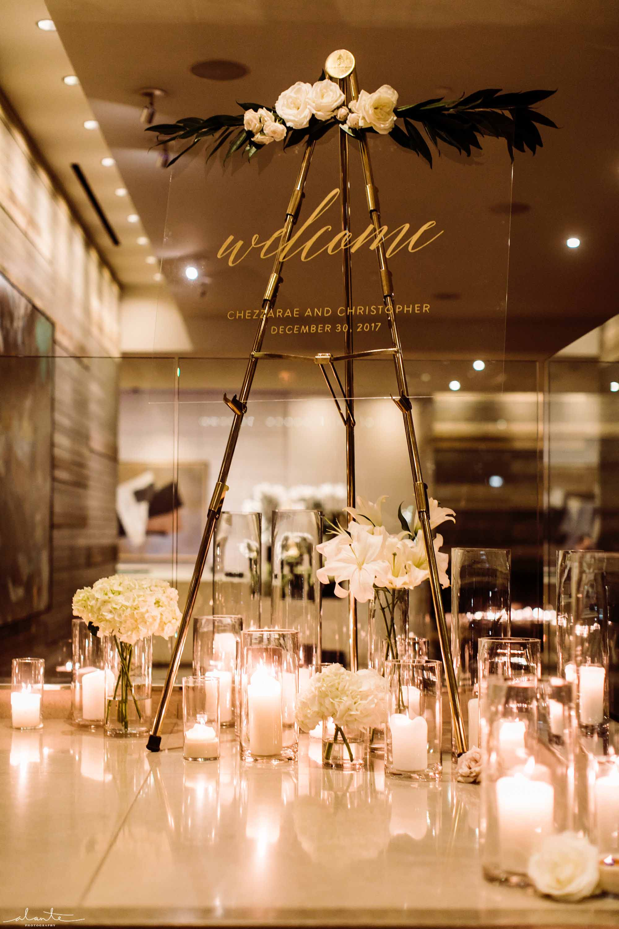 lucite welcome sign at winter wedding at Four Seasons Seattle