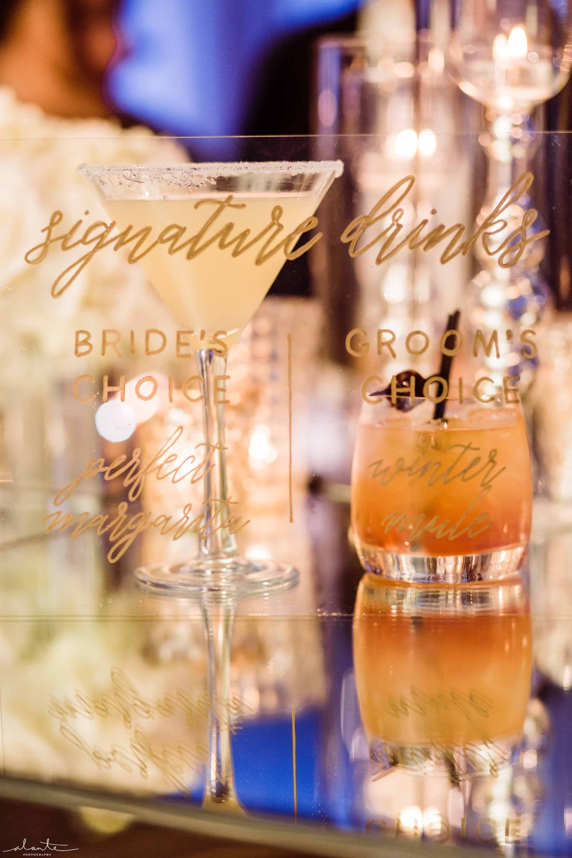 custom and personalized cocktails for wedding reception