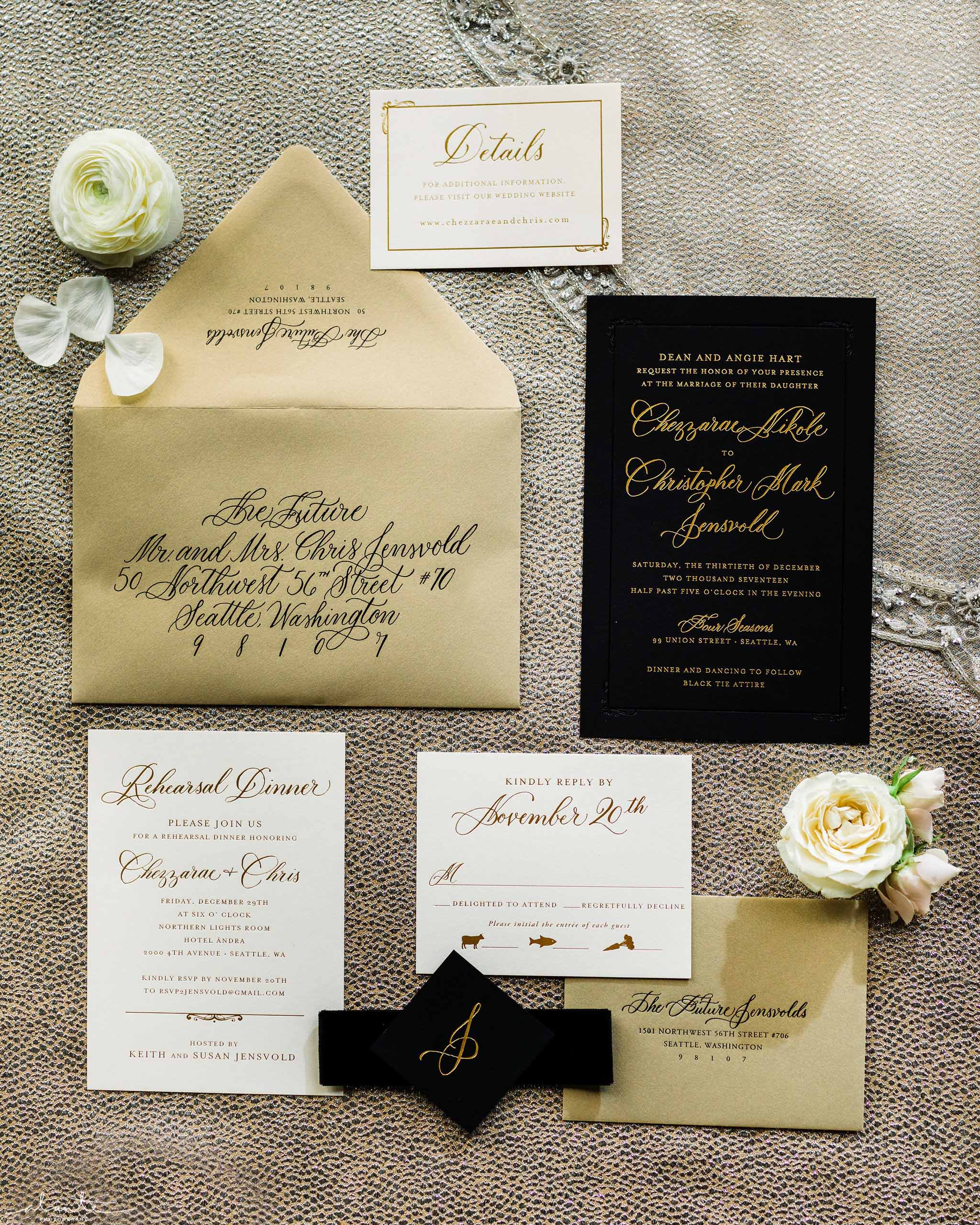 custom stationary for black and white winter wedding