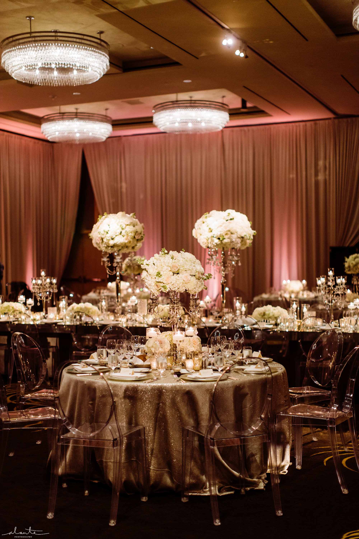 Glamorous Four Seasons Seattle wedding reception with tall white centerpieces - Luxury Winter Wedding at the Four Seasons by Flora Nova Design Seattle