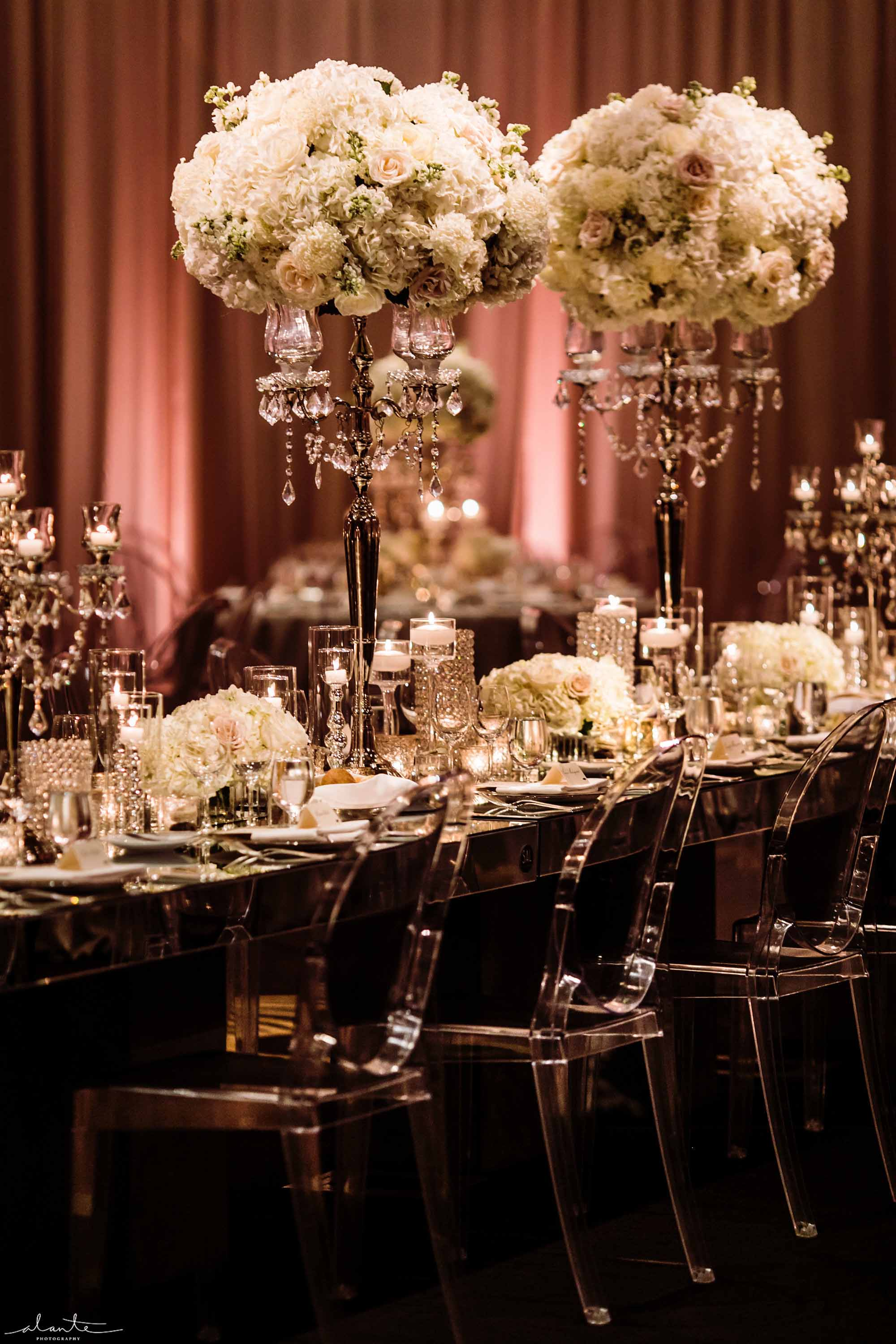 Mirrored wedding head table with tall white centerpieces - Luxury Winter Wedding at the Four Seasons by Flora Nova Design Seattle