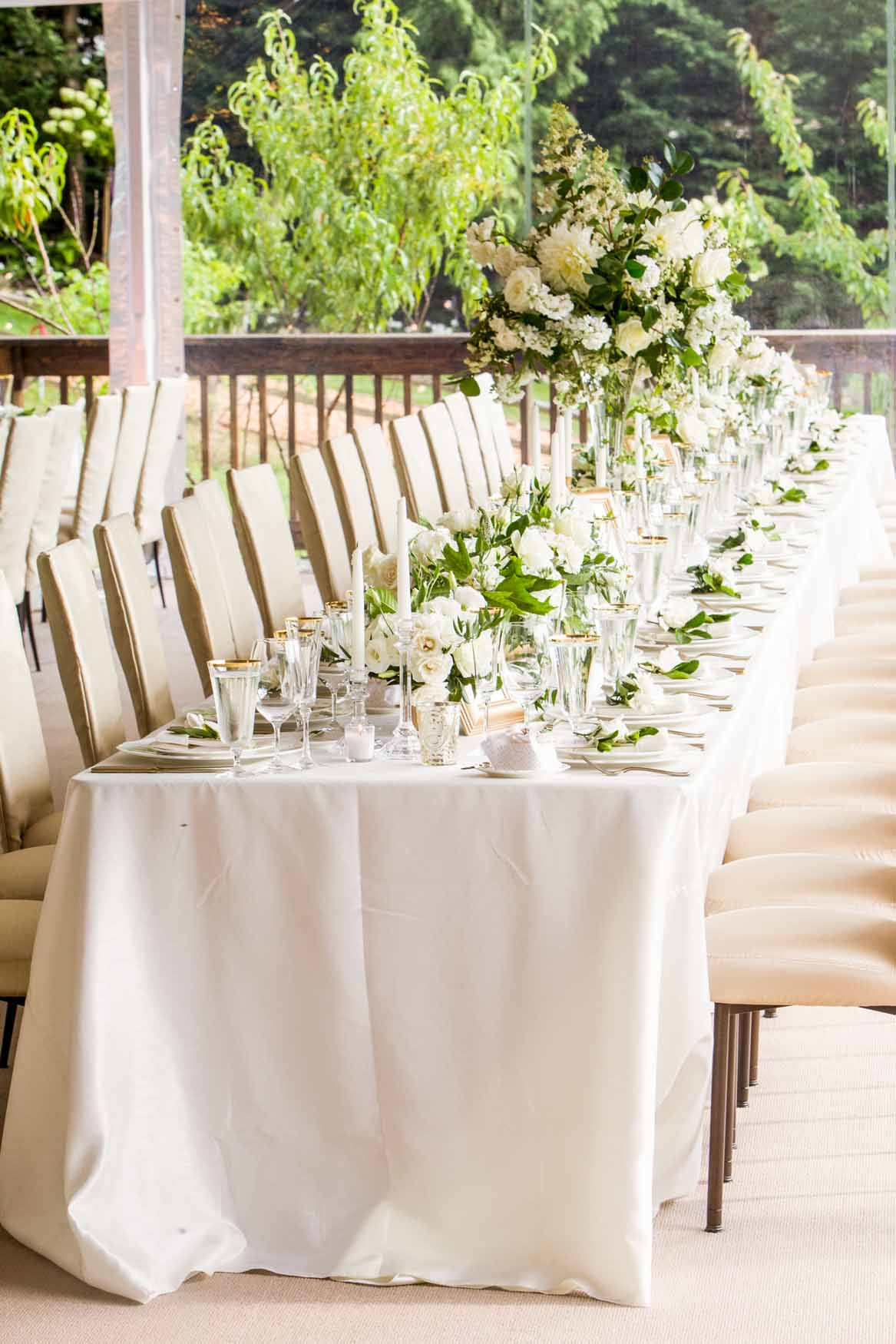 Long guest tables at wedding reception, gardenias at each place setting - Elegant Summer Private Estate Wedding. Flora Nova Design Seattle