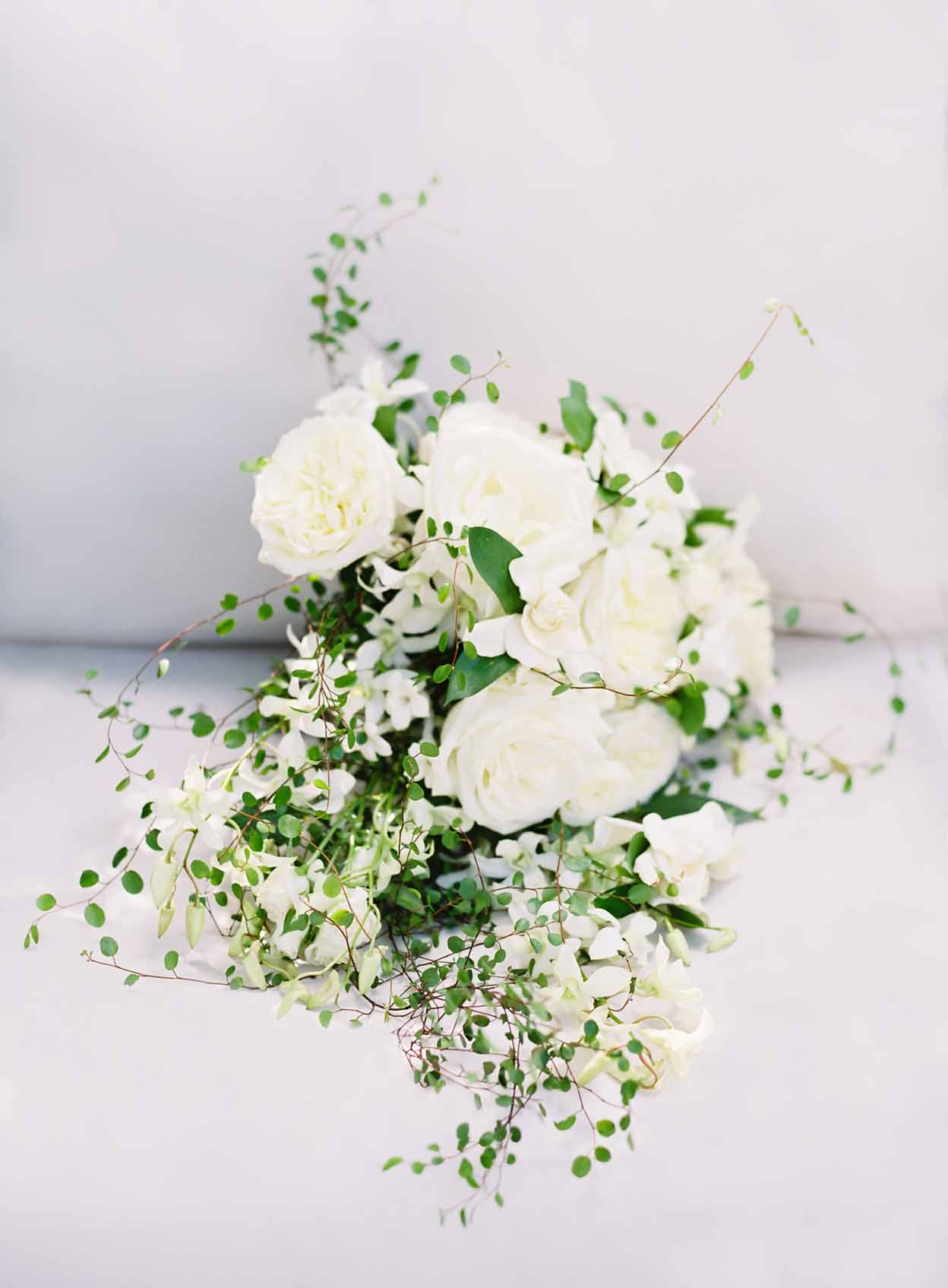 Bridal Bouquet of white roses, white orchids, iron wire greenery - White and Green Wedding, Flora Nova Design