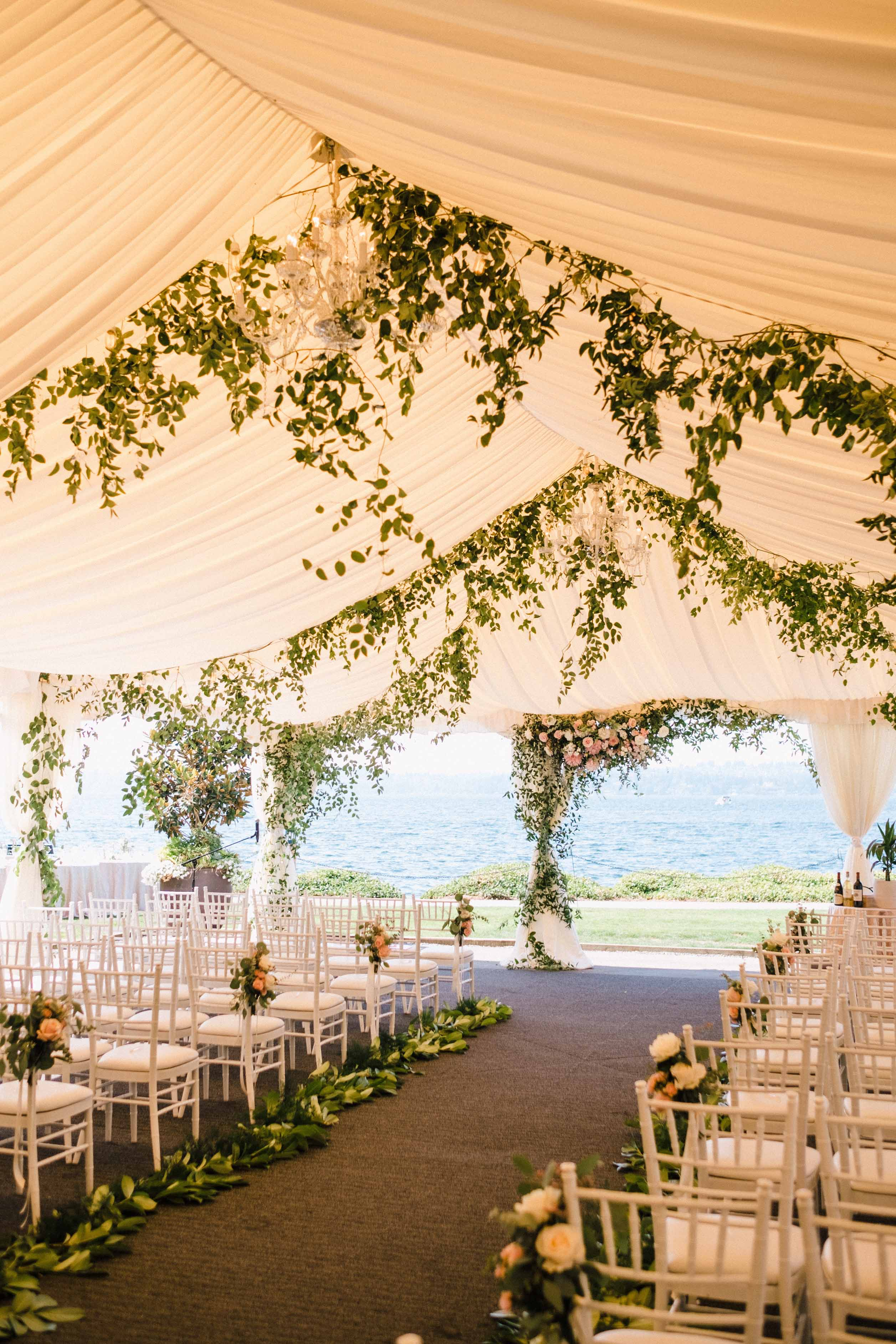 Greenery vines in the tent ceiling for a Woodmark Hotel Wedding, Flora Nova Design Seattle