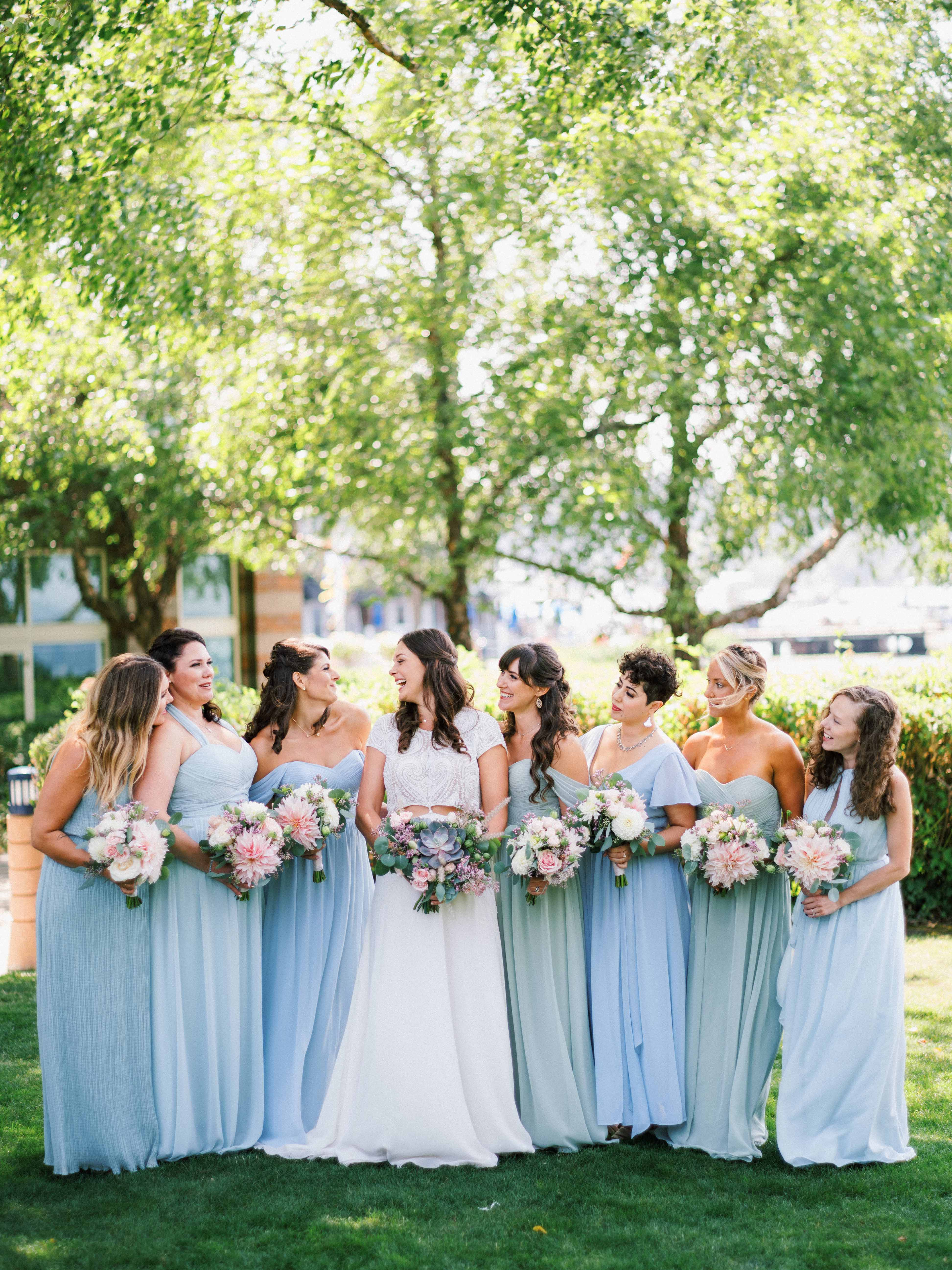 A bridal party in the summer - Woodmark Hotel Wedding by Flora Nova Design Seattle