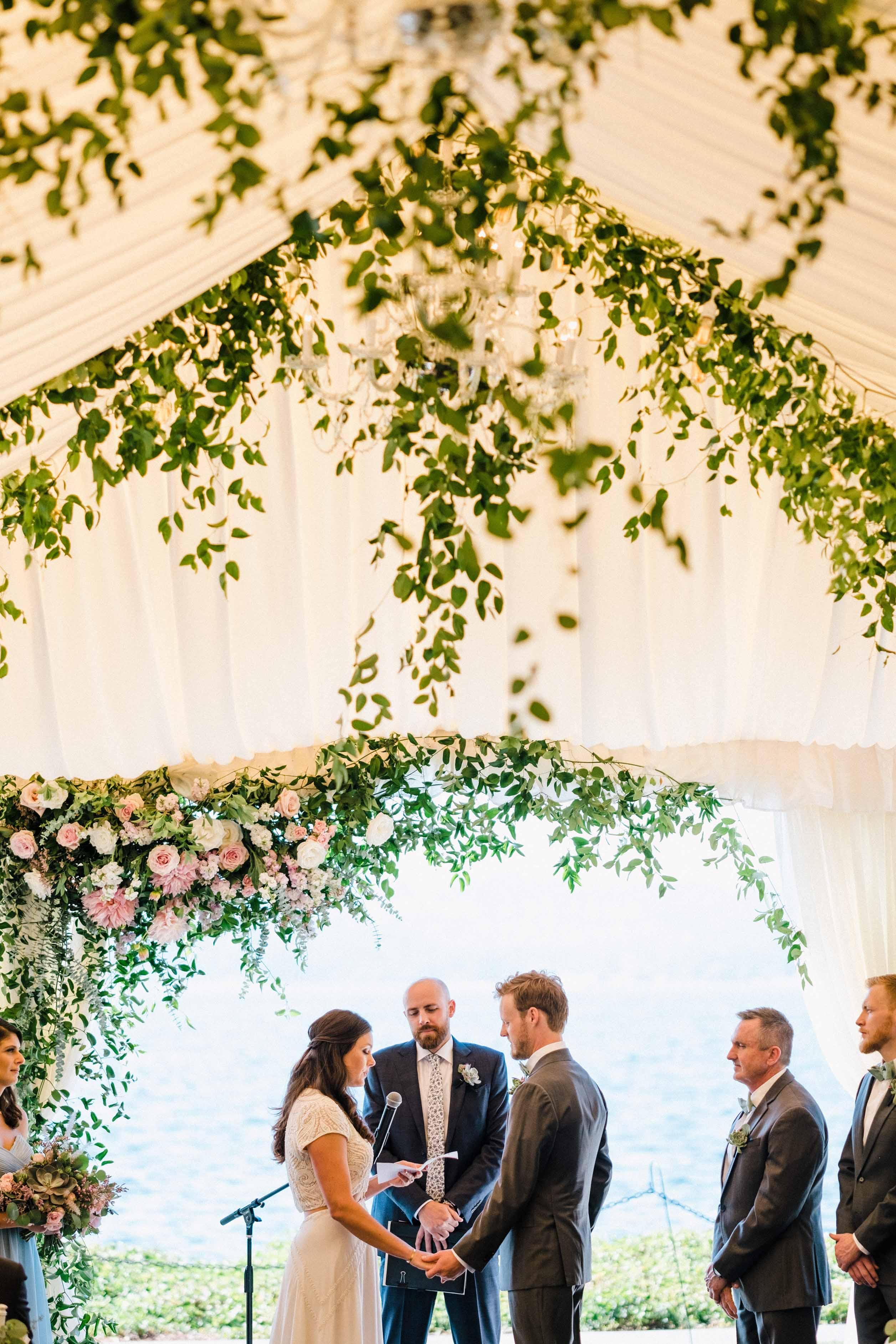 Wedding ceremony at the Woodmark Hotel - Woodmark Hotel Wedding by Flora Nova Design Seattle
