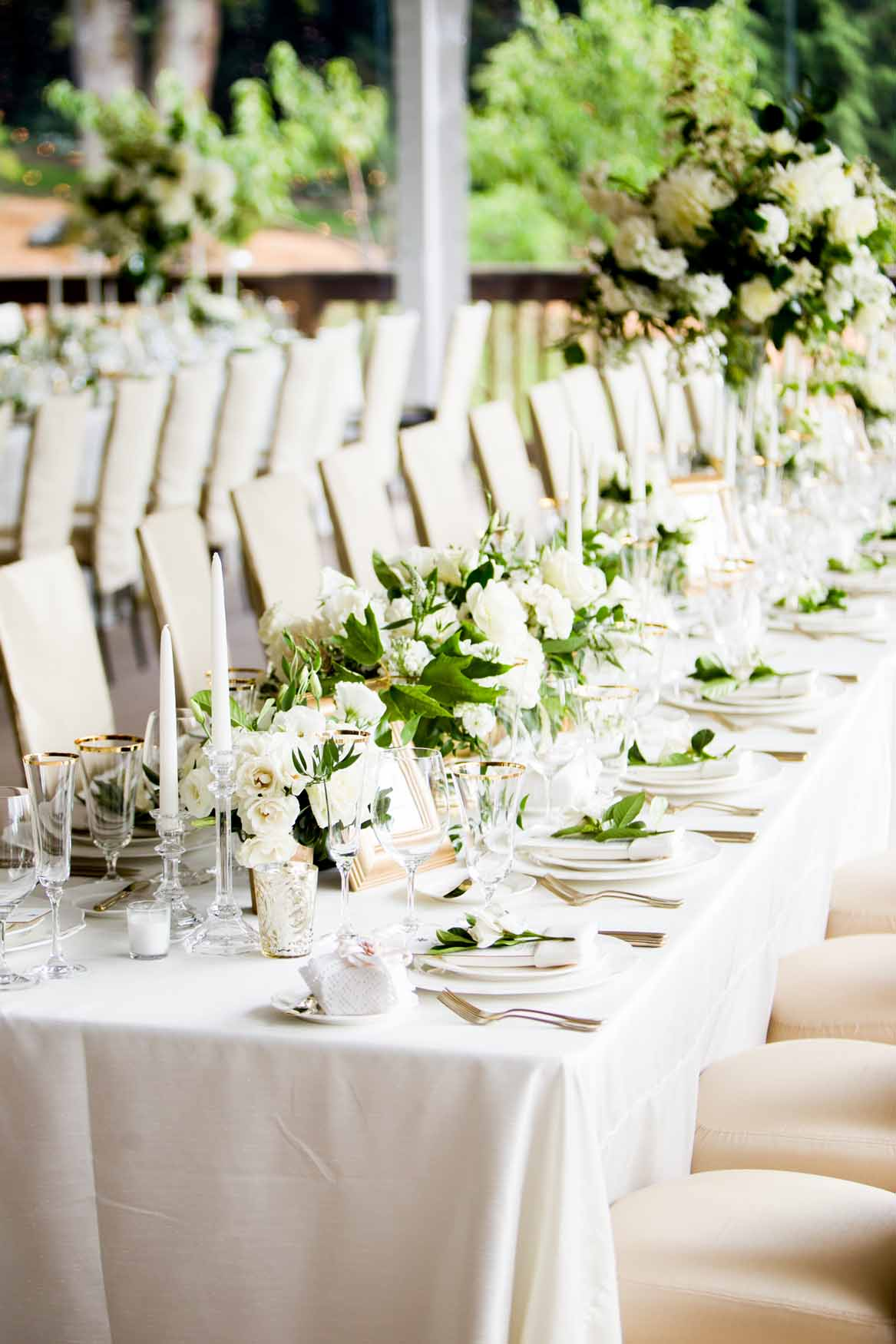 Long table at wedding reception with white centerpieces - Elegant Summer Private Estate Wedding. Flora Nova Design Seattle