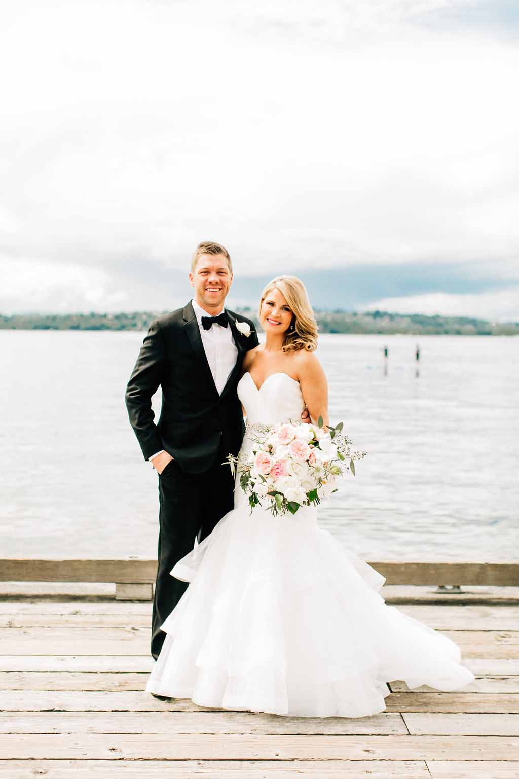 Bride and groom at their Lake Washington wedding
