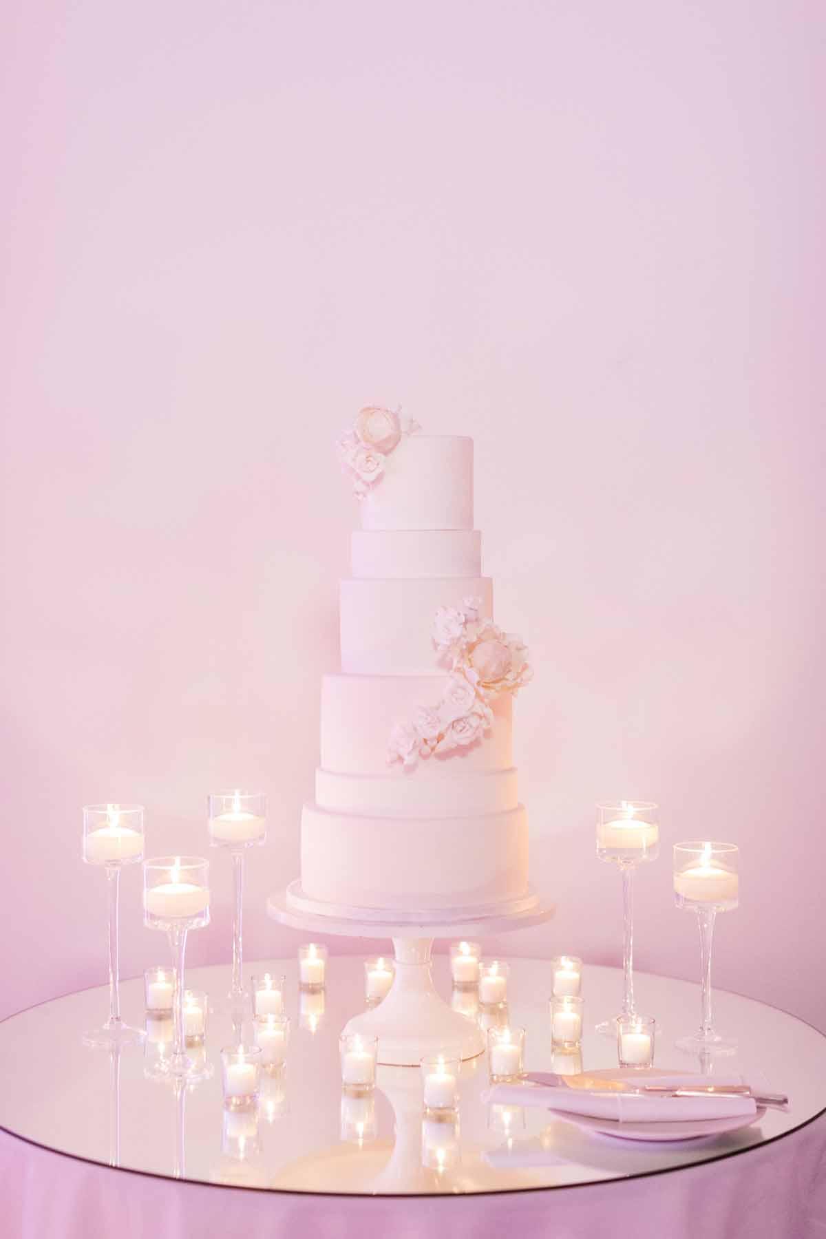 All white wedding cake at modern wedding