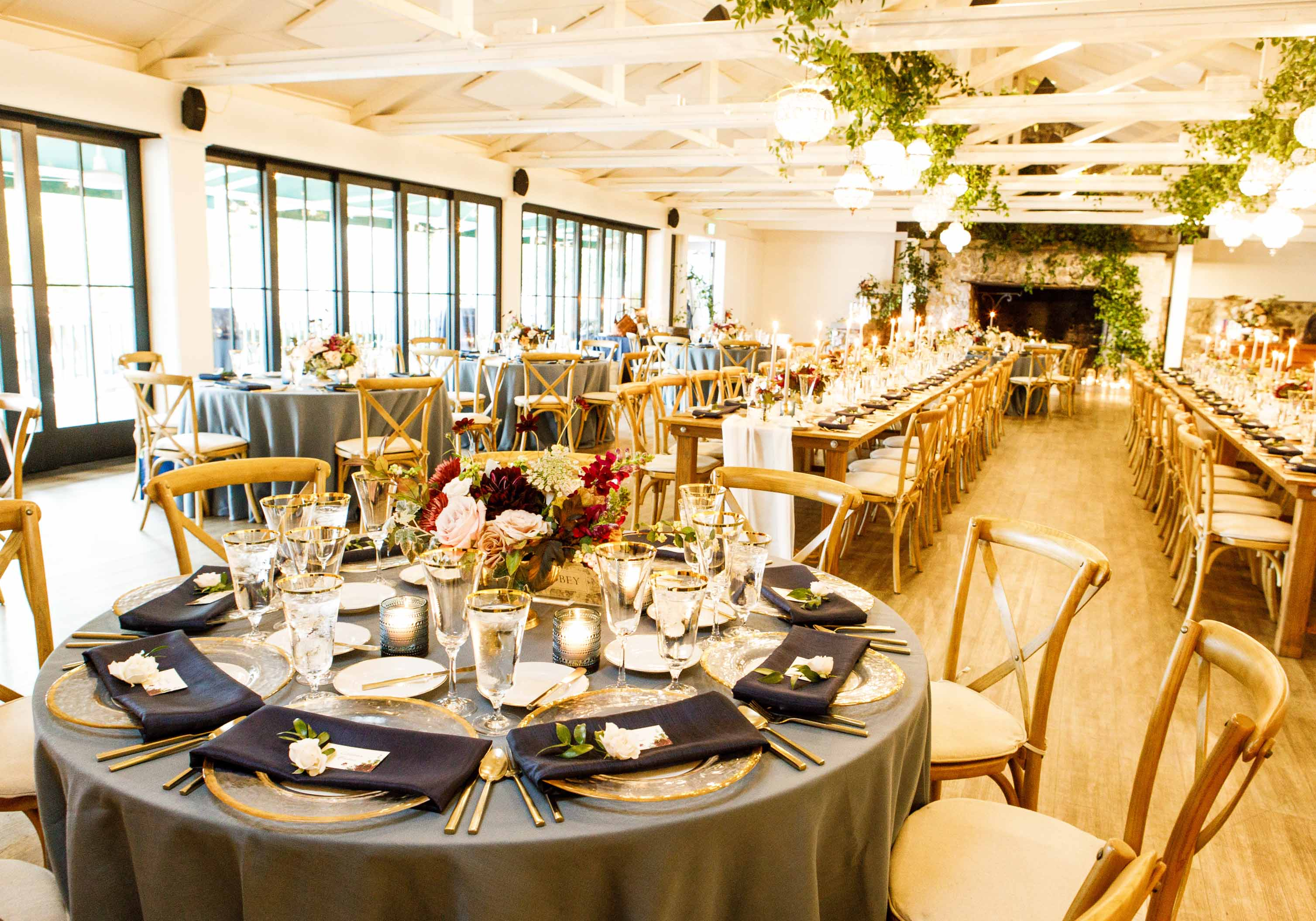A mix of round and long tables for a dinner reception at Roche harbor wedding