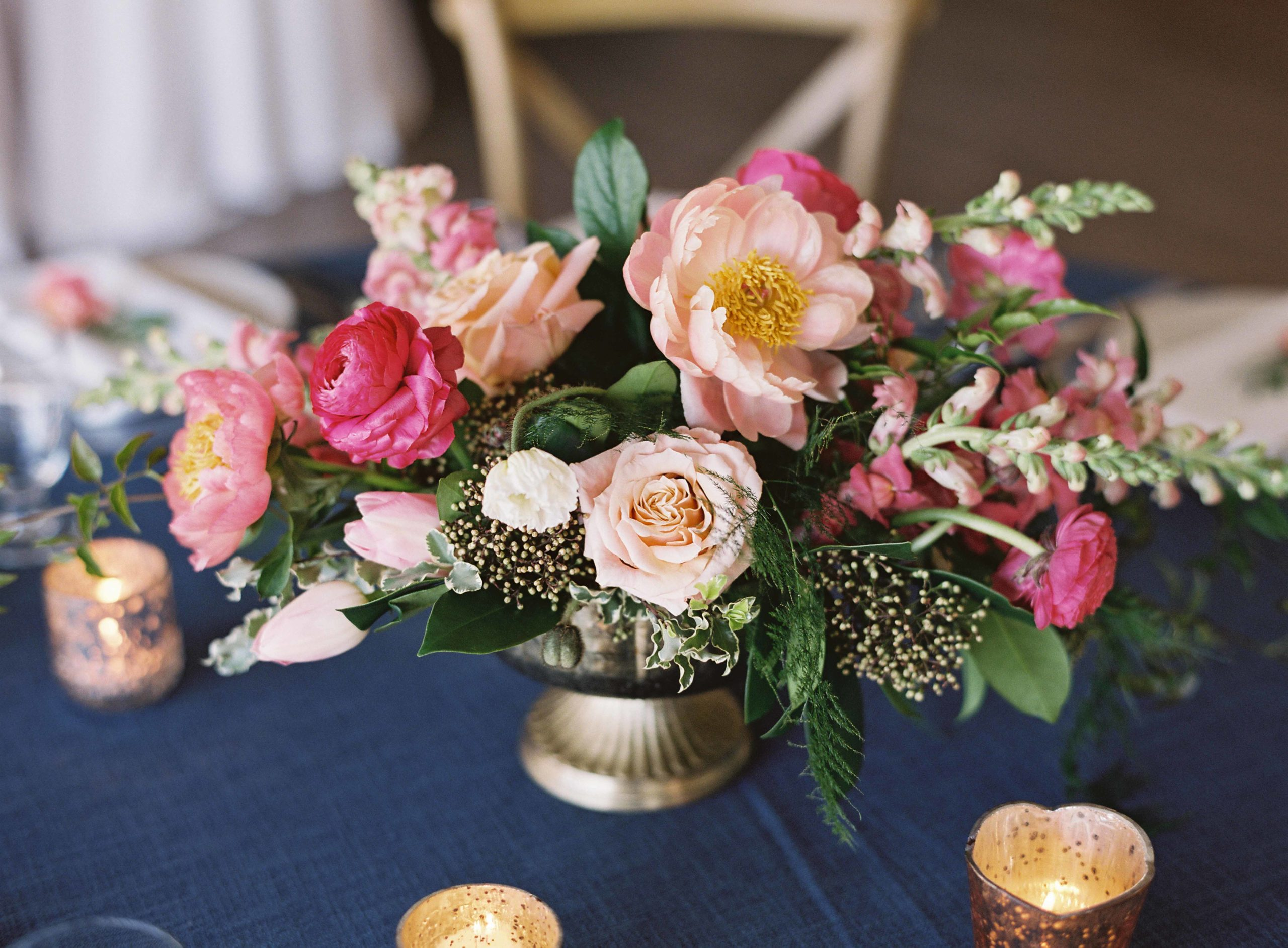 Hot pink and peach wedding centerpiece in gold compote vase - Seattle Wedding Flowers by Flora Nova Design; Hot pink and peach wedding at Roche Harbor Resort