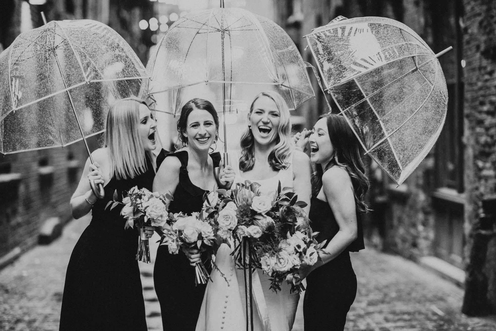 happy bridal party sharing a laugh together