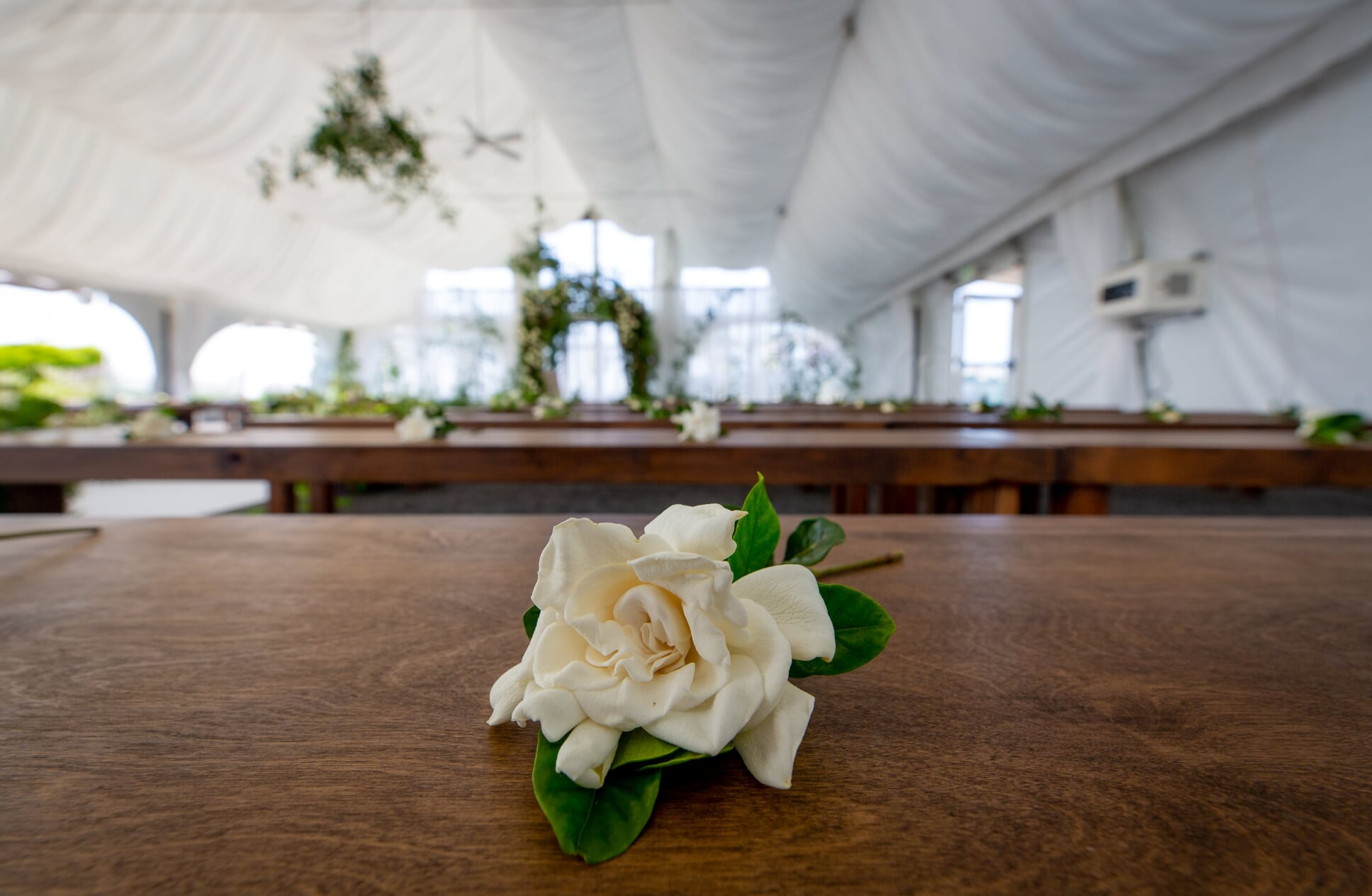 Gardenia placed on ceremony wooden bench under white tent