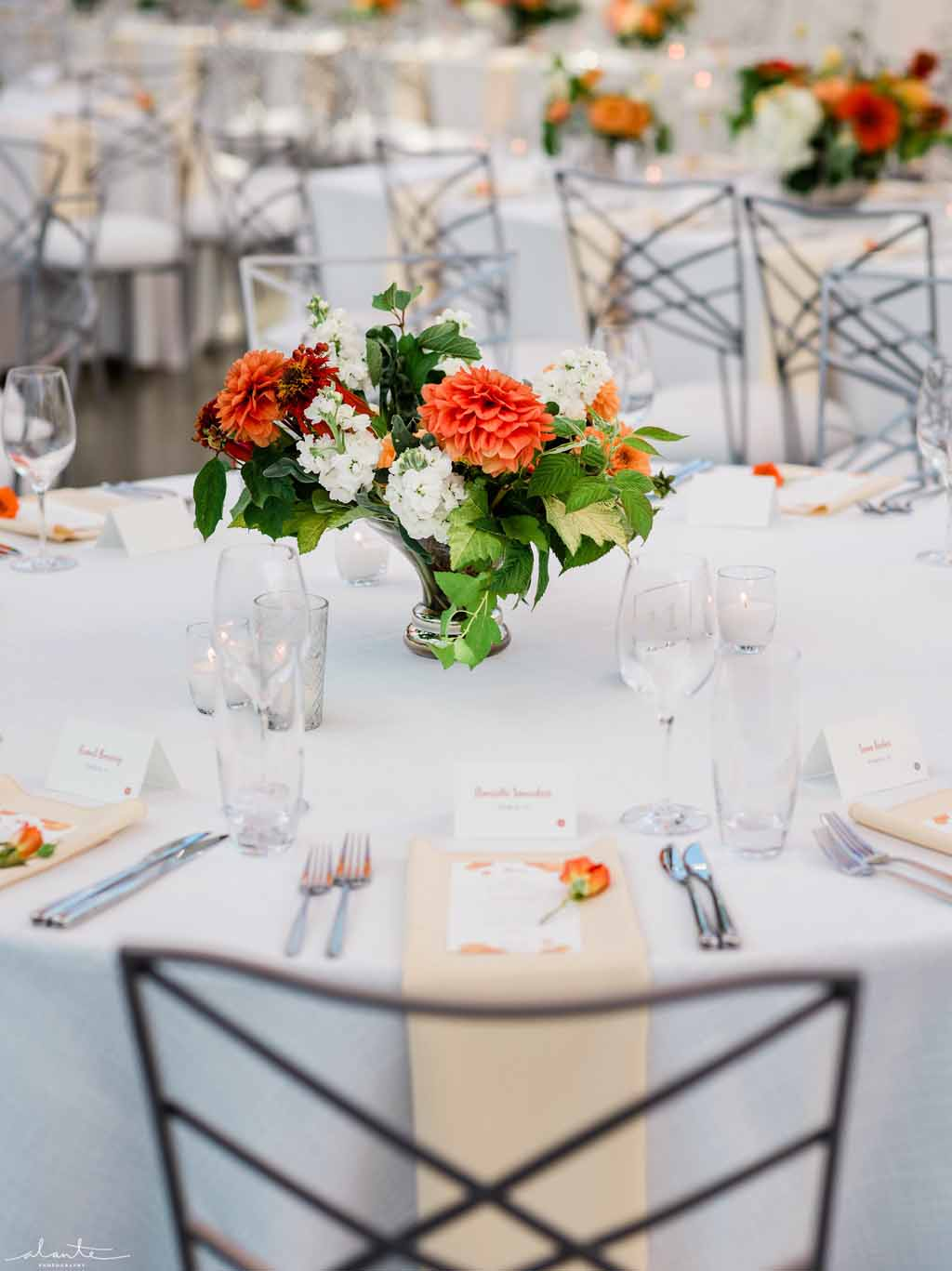 Low orange centerpiece with summer flowers in vibrant orange and white.