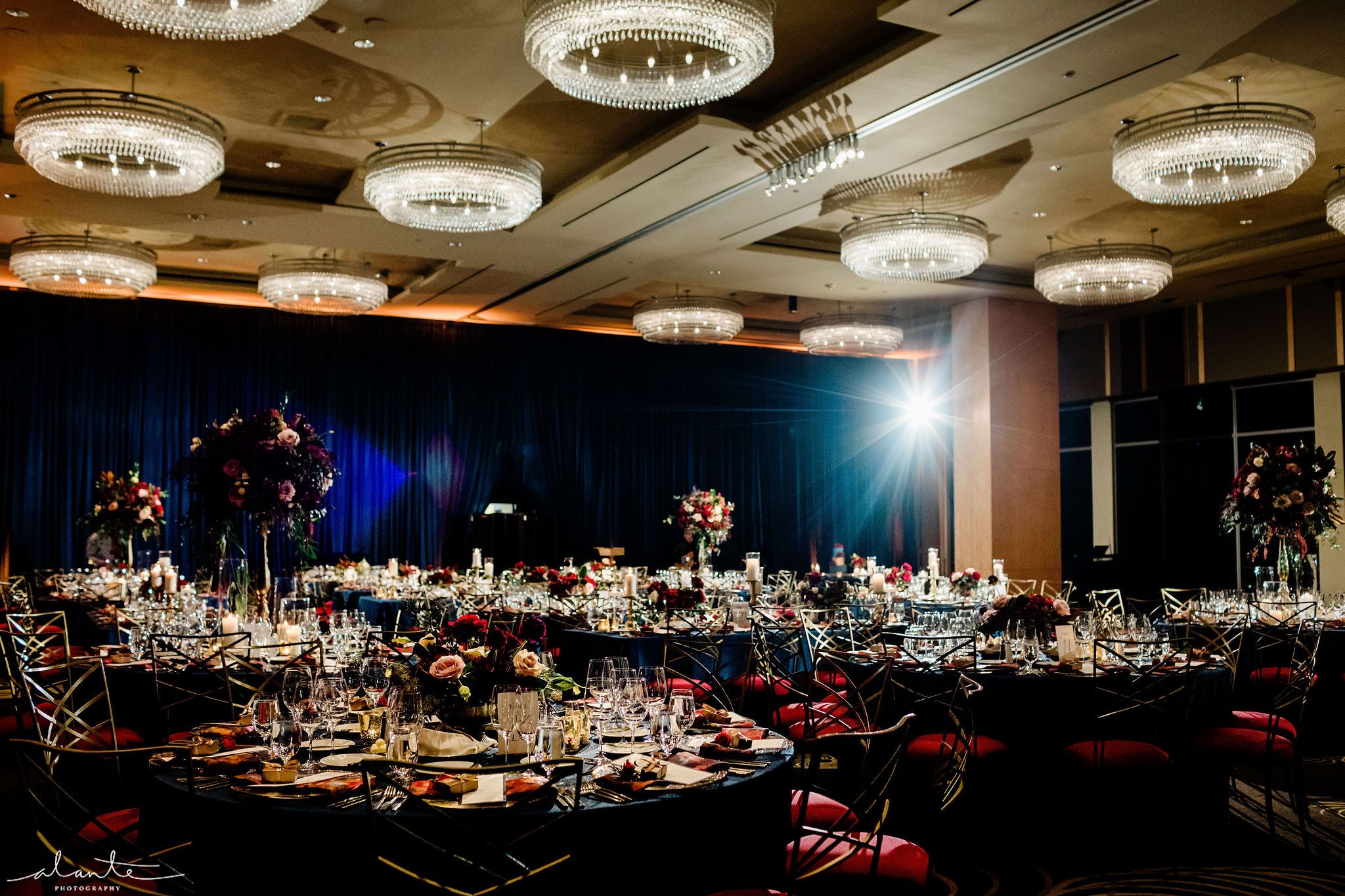 Ballroom wedding reception at the Four Seasons Seattle for a red winter wedding | Flora Nova Design