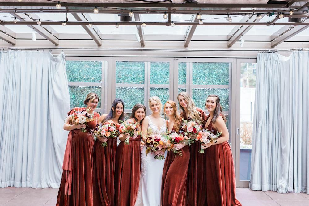 Fall bridal party, maroon dresses, fall flowers