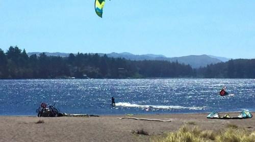 Kite boarding on Floras Lake