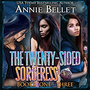 audiobook cover for The Twenty-Sided Sorceress Box Set 1-3 by Annie Bellet Narrated by Folly Blaine