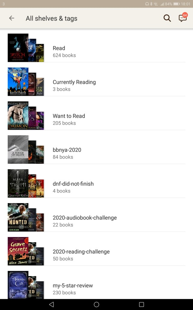 Screenshot of Goodreads Shelves on 14.9.20