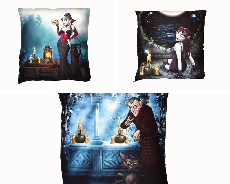 Etsy image of Set of 3 Vampire Carton Cushion Covers sold by VioletRose Emporium