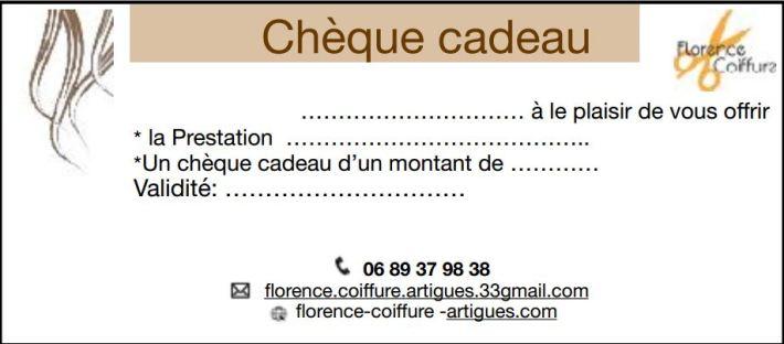 coiffeur artigues Florence Coiffure chèque cadeau