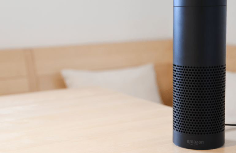 Photo of Amazon Echo on a Scandinavian-styled table by Fabian Hurnaus via Pexels