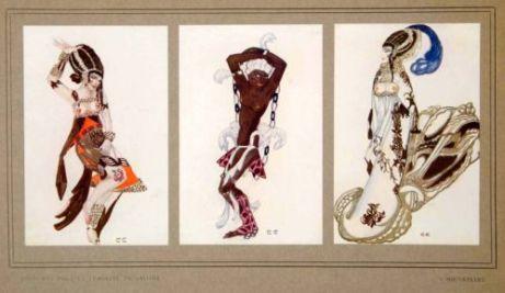 Costume designs for the 1913 Ballets Russes production of La Tragedie de Salome, designed by Serge Soudeikine.