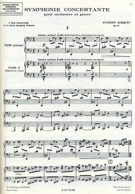 Florent Schmitt: Symphonie Concertante score