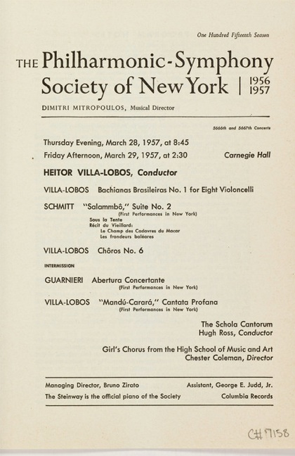 Heitor Villa Lobos conducts Florent Schmitt (New York Philharmonic, 1957)