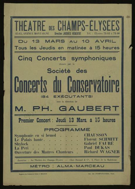 Schmitt Palais hante Gaubert Paris Conservatoire