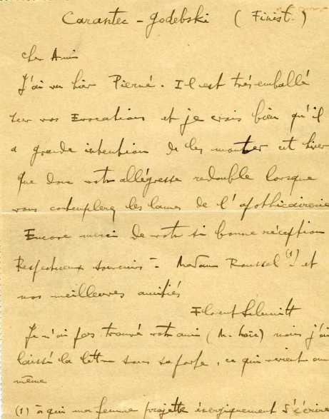 Florent Schmitt letter to Albert Roussel 1912